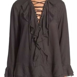 Iro Lace Up Top Sz 36 S Black Bell Sleeves